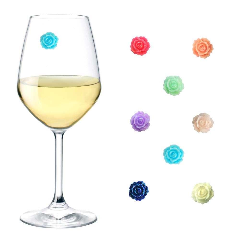 Magnetic Wine Glass Charms Set of 8, Rose Wine Glass Markers, Wine Glass Markers Magnetic, Wine Glass Charms for Stemless Glasses, Glass Identifiers, Drink Markers, Wine Glass Tags, Simply Charmed.