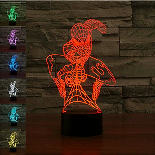 SUPERNIUDB Spider Hero 3D Night Light Table Desk Optical Illusion Lamps 7 Color Changing Lights (Desk Lamp Marvel)
