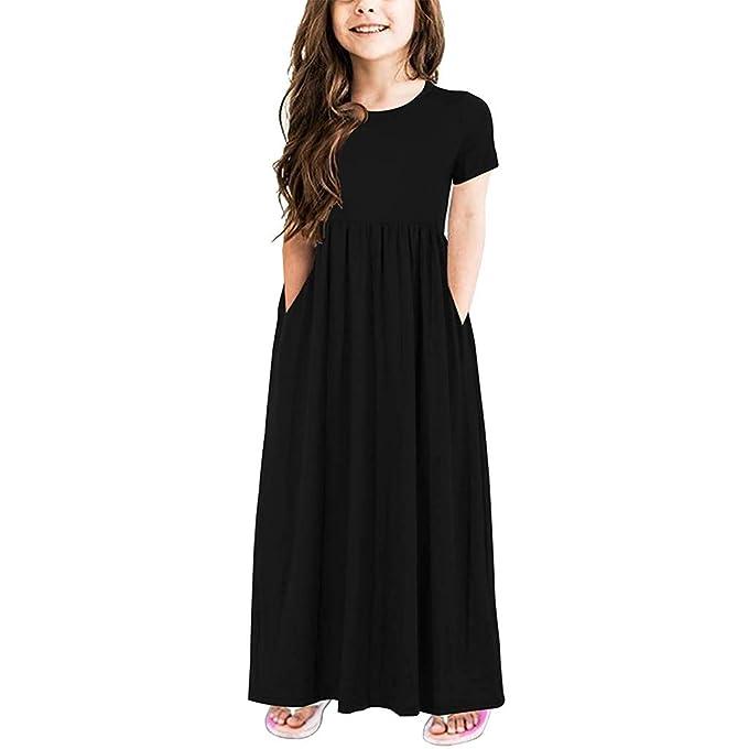 Conquro Falda Larga de Color sólido de Manga Corta con Cuello Redondo Vestido de algodón cómodo y Elegante con Falda Larga de 2-12 años: Amazon.es: Ropa y ...