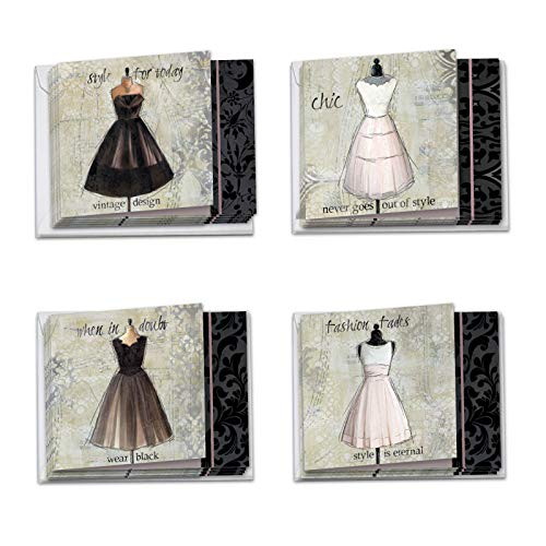 12 Boxed and Assorted 'Dress forms' Blank All Occasions Note Cards 4 x 5.12 inch w/Envelopes - Vintage Style Elegant, Semi formal Dresses on Dressmaker's Notecards ()