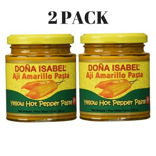 Aji Amarillo Pepper - Dona Isabel Aji Amarillo Paste - Hot Yellow Pepper Paste - 7.5 Ounces - Product of Peru - 2 PACK