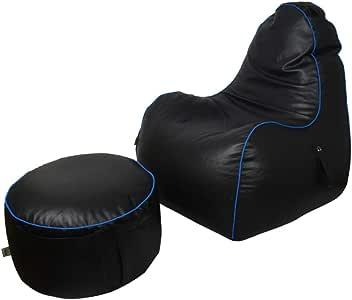 كرسي بين باج للألعاب من الجلد مع مسند للقدم من ريلاكسيت - أسود/أزرق