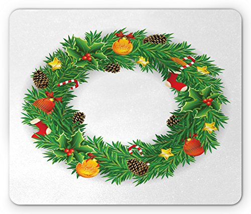 Ambesonne Christmas Mouse Pad, Festive Wreath Evergreen with Candy Cane Stockings Mistletoe Berries on Door, Standard Size Rectangle Non-Slip Rubber Mousepad, Green White (Stocking Evergreen)