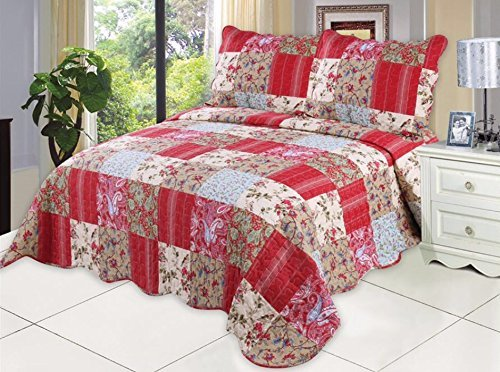 (English Roses Quilt set, Cotton rich,prewashed, preshrunk.As bedspread, bedcover,coverlet, bed throw )