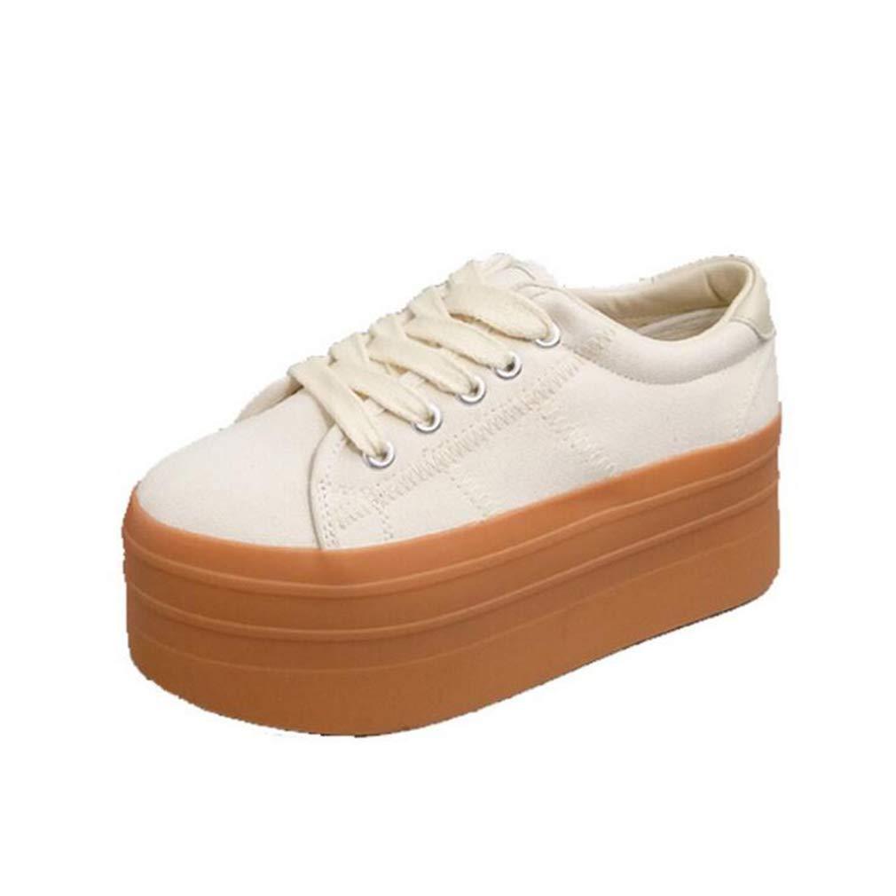 Hy Beiläufige Schuhe der Frauen, Segeltuch-Frühlings- / Fall-Komfort Breathable erhöhen Turnschuhe, Kursteilnehmer-Retro- Starke untere beiläufige Schuhe, Runde Zehe-Lace-up Segeltuch-Schuhe