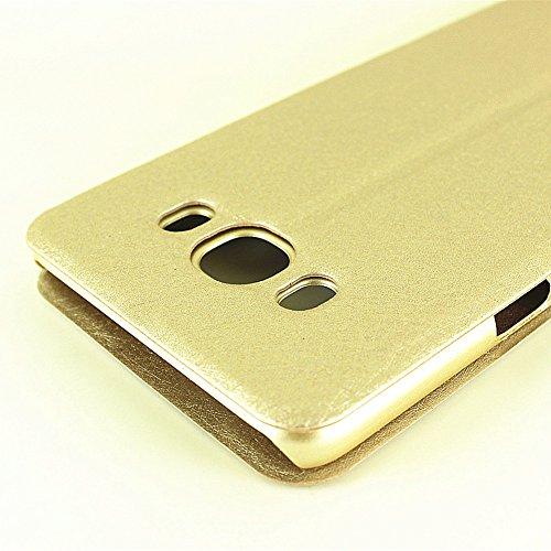 Carcasas y fundas Móviles, Para Samsung Galaxy J5 2016, color sólido PU cuero con soporte doble ventana abierta patrón de seda funda protectora para Samsung Galaxy J5 2016 (responder o rechazar llamad Gold