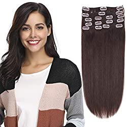 """12-22inch Clip in Remy Human Hair Extensions Grade 7A Thick to End Full Head Natural Hair Long Straight 8 Pieces 18clips 95g 16""""-18'', 2 Dark Brown"""