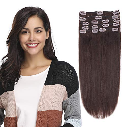 """12-22inch Clip in Remy Human Hair Extensions Grade 7A Thick to End Full Head Natural Hair Long Straight 8 Pieces 18clips 80g 14""""-16'', 2 Dark Brown"""