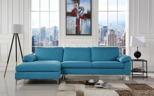 Modern Large Linen Fabric Sectional Sofa, L-Shape Couch with Extra Wide Chaise Lounge (Blue) (Modern Fabric Chaise)