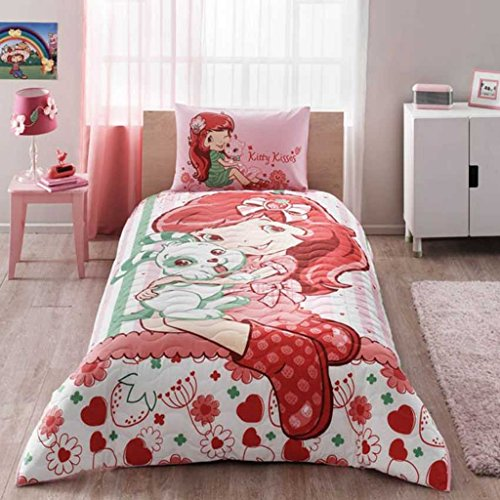 Bekata Strawberry Shortcake Bedding Complete Set, 100% Cotton Single/Twin Size Multifunctional Girls Bedding Set for 4 Season, Quilted Bedspread/Duvet Cover Set, 3 PCS, ()