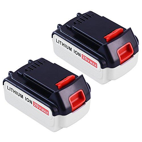Replace for Black and Decker 20V 5.0Ah MAX Lithium Ion Battery LBXR20 LBXR2020 LBXR20-OPE LB20 LBX20 LBX4020 LB2X4020-OPE 2Packs SUN POWER