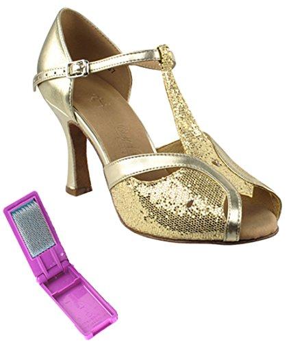Very Fine Ballroom Latin Tango Salsa Dance Shoes for Women SERA2800 2.5-inch Heel + Foldable Brush Bundle - Gold Scale-Light Gold - 7.5 by Very Fine Dance Shoes (Image #1)