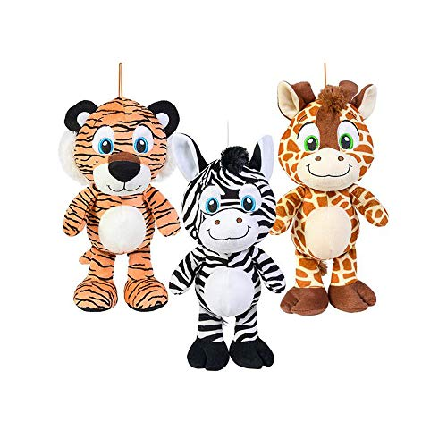 Rhode Island Novelty Animal Print Jungle Friends Zebra Tiger and Giraffe Plush Stuffed Animal Toys - 3 Piece Set