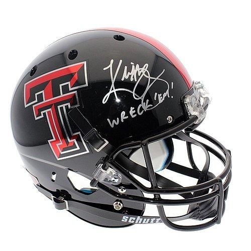 Kliff Kingsbury Texas Tech Red Raiders Schutt Black Full Size Replica Helmet - JSA Certified Authentic