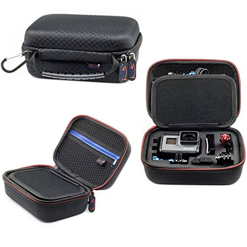 Extra Small Action Camera Carrying Case Suitable GoPro Hero Fusion Akaso EK7000 Brave 5 4 Apeman EKEN H9R Fitfort Crosstour Campark ACT74 ACT76 Davola Dragon Touch Jeemak YI 4K Cam 6.5x4.5x3 Inch