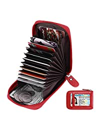 Elfish RFID Blocking Genuine Leather Credit Card Case Organizer Wallet with ID Window