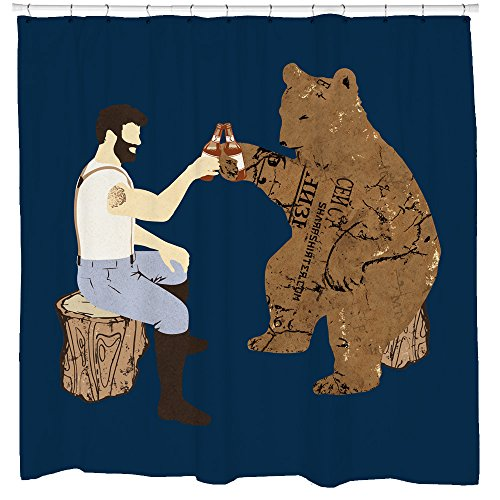 Sharp Shirter Cool Bear Shower Curtain Funny Beer Theme Awesome Woodland Decor for Mancave Bathroom Tree Art Hooks Included (Beer Shower Curtain)