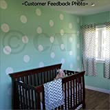 6x6 Set of 24 Polka Dot Circles vinyl lettering decal home decor wall art saying (White)