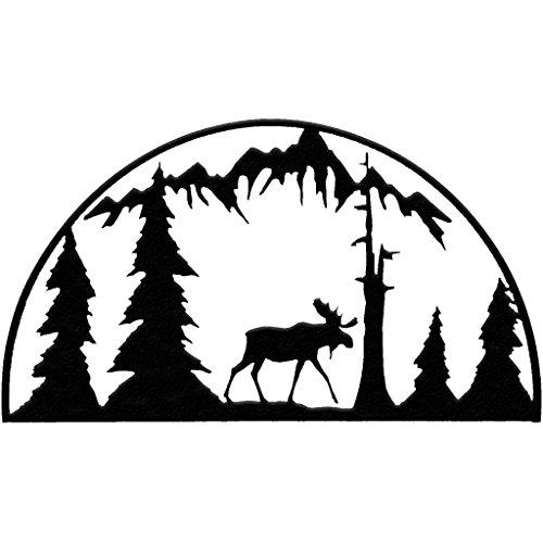 7055 Inc Rustic Elements Moose Hoop Metal Wall Art, Hammered Black