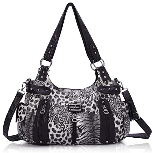 Handbag Hobo Women Handbag Roomy Multiple Pockets Street ladies' Shoulder Bag Fashion PU Tote Satchel Bag for Women (AK19244B#-29#Black)
