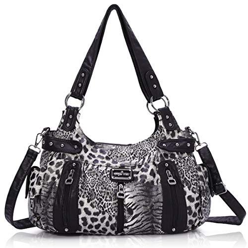 Handbag Hobo Women Handbag Roomy Multiple Pockets Street ladies' Shoulder Bag Fashion PU Tote Satchel Bag for Women (AK19244B#-29#Black) (Best Quality Handbags Brands)