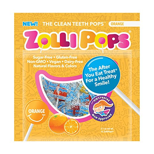 Zollipops The Clean Teeth Pops, Anti Cavity Lollipops, ORANGE, 15 Count ()