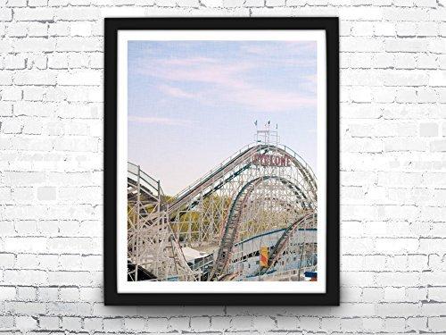 Rollercoaster Print, Rollercoaster Photo, Summer Wall Art, Summer Decor, Cyclone Rollercoaster, Coney Island Art Print, Rollercoaster Poster