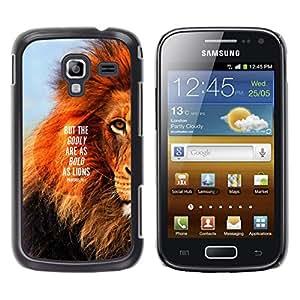 YOYOYO Smartphone Protección Defender Duro Negro Funda Imagen Diseño Carcasa Tapa Case Skin Cover Para Samsung Galaxy Ace 2 I8160 Ace II X S7560M - león texto melena inspiradora cita de verano
