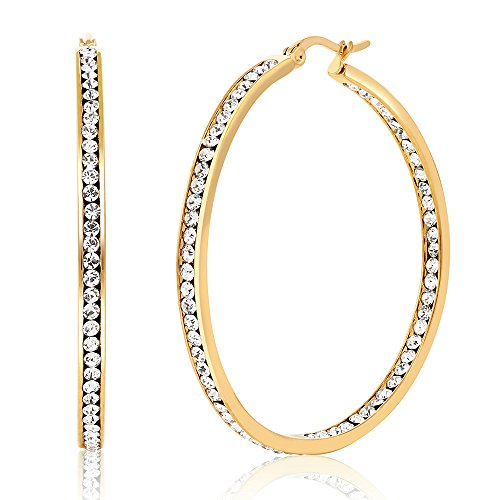 Gem Stone King 2 Inch Stunning Stainless Steel High Shine Inside-Out Hoop Earrings With CZ
