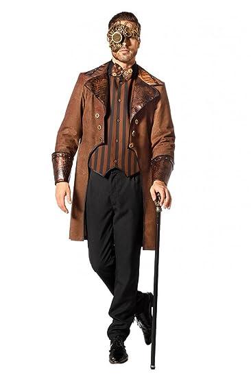 Brauner Steampunk Herren Mantel mit Schlangenmuster und gestreifte Weste  Kostüm Jacke viktorianisch hochwertig, Größe  277354a309