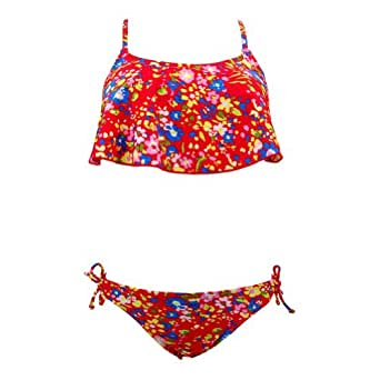 Marina West Women's Two Piece Flutter Shelf Bra Top & Bikini Bottom Bathing Suit Size - Large,Color - Multi-Flower