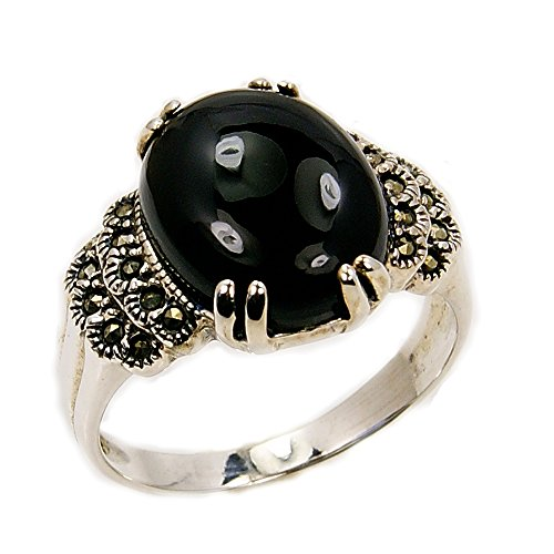 ['New Moon' Sterling Silver Black CZ, Marcasite Ring, Size 5.5] (Marcasite Faceted Onyx Ring)