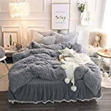 Faux Fur Duvet Cover SHSYCER 3-Piece Duvet Cover Set with Zipper Closure- Ultra Soft Plush Faux Fur Bedding Set - Queen Size Grey