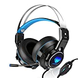 SL-320 Stereo Gaming PS4 Headset with Retractable Mic - Xbox One Video Games PS4 Accessories - Mac/ Laptop/ PC Gaming Computer Headphones USB LED - Headset for New Xbox One Wireless Controller (Blue)