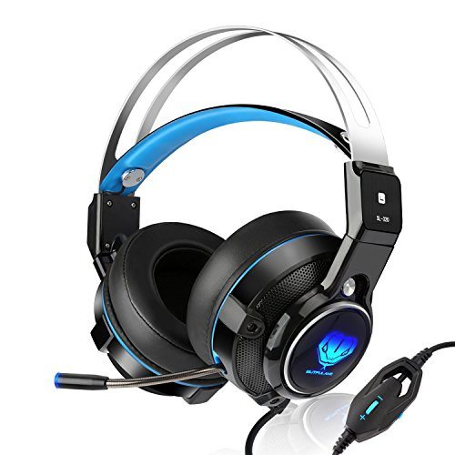 SL-320 Stereo Gaming PS4 Headset with Retractable Mic - Xbox One Video Games PS4 Accessories - Mac/ Laptop/ PC Gaming Computer Headphones USB LED - Headset for New Xbox One Wireless Controller (Blue) (Logitech Wireless Controller Xbox)