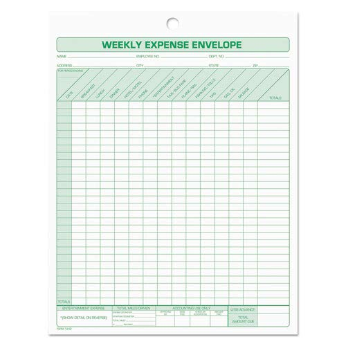 Weekly Expense Envelope, 8 1/2 x 11, 20 Forms, Sold as 20 Each by TOPS