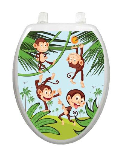 Monkey Business TT-1056-O Elongated Whimsical Kids Cover Bathroom by Toilet Tattoo