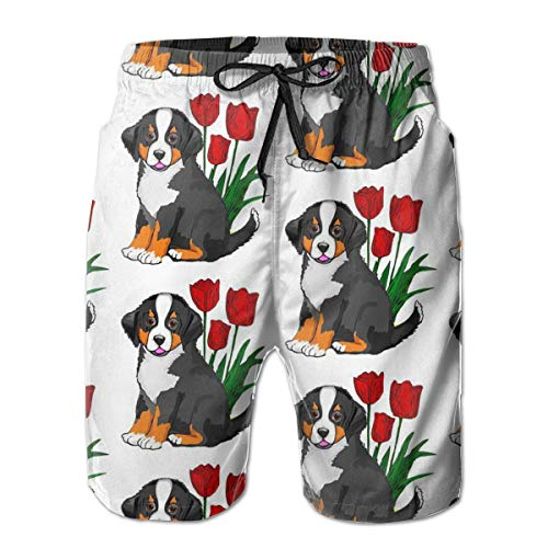 Swimsuit for Men & Teens, Novelty Surfing Beach Shorts, Bernese Mountain Dog Board Shorts with Elastic Waist Drawstring & Side Back Pockets