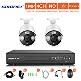 [4CH Expandable] HD Outdoor Surveillance Camera System,SMONET 4CH 1080N Security Camera System(DVR System),2pcs HD CCTV Cameras,Home Security Camera System for Outdoor and Indoor Use, NO Hard Drive