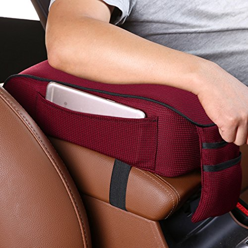 MLOVESIE Auto Center Console Armrest Pillow, Memory Foam Car Armrest Cushion with Phone Holder Storage Bag Universal Fit for Most Car (Wine Red)