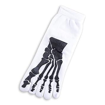 FHCGWZ 5 unids/Set Rock Unisex 3D Imprimir Terror Skeleton Toe Calcetines Hip Hop Scary