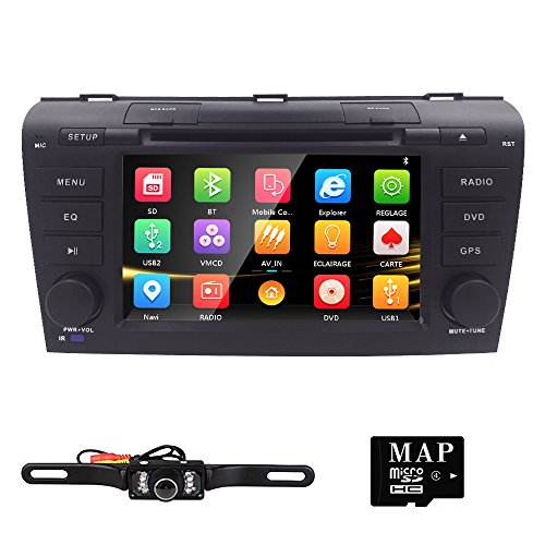 Hizpo 7 inch Double Din In Dash HD Touch Screen Car DVD Player GPS Navigation Stereo For Mazda 3 2004 2005 2006 2007 2008 2009 Support Navi/Bluetooth/SD/USB/FM/AM Radio/3G/DVD/1080P + Free Camera by HIZPO