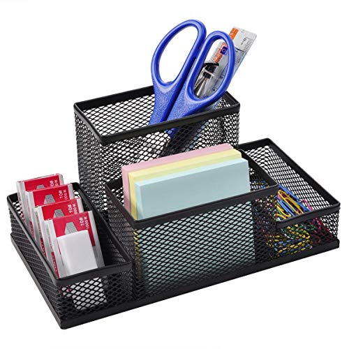 Ciaoed11 Mesh Desk Organizer, Black Metal Wire Pencil Holder - 4 Compartments for Office Supplies, Accessories Containers ()