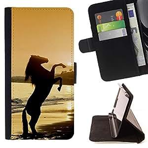Momo Phone Case / Flip Funda de Cuero Case Cover - Cheval Étalon Mustang - Samsung Galaxy Note 4 IV