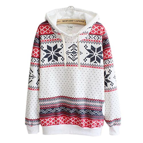 FAPIZI ♥ Women Blouse ♥ Women Christmas Snow Hoodie Sweatshirt Jumper Sweater Hooded Pullover (5XL, White) (Sequin Argyle Sweater)