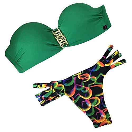 Lovekobe Bikiní atractivo del traje de baño del empuje de la personalidad del sujetador de las mujeres fijó H Color2