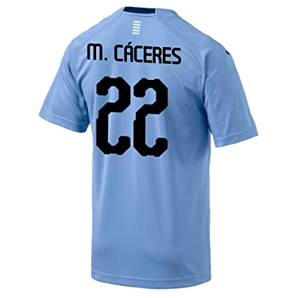 PUMA M. Caceres  22 Uruguay Home Men s Soccer Jersey World Cup Russia 2018 ( 64deef588