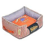 Touchdog Polka-Striped Polo Easy Wash Rectangular Fashion Pet Dog Bed Orange Lavender Large