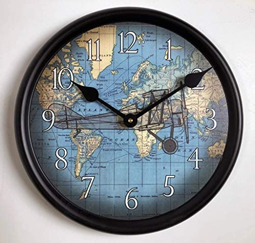 Around The World Airplane Wall Clock, Available in 8 Sizes, Most Sizes Ship 2-3 Days,
