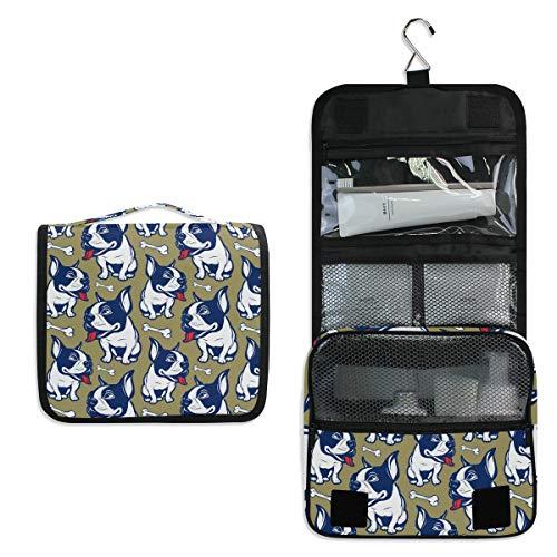 JOYPRINT Hanging Toiletry Bag French Bulldog Bones, Makeup Bag Cosmetic Bag Bathroom Travel Organizer Large for Women Girls